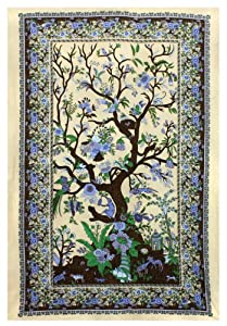 Sunshine Joy® Tree Of Life Indian Tapestry - 60x90 Inches - Beach Sheet - Hanging Wall Art (Beige)