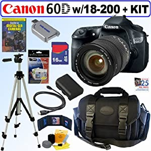 Canon EOS 60D 18 MP CMOS Digital SLR Camera with Sigma 18-200mm F3.5-6.3 II DC OS HSM (Optical Stabilizer) Zoom Lens + 16GB Deluxe Accessory Kit