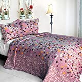 [Kiss The Rain] Cotton 3PC Vermicelli-Quilted Printed Quilt Set (Full/Queen Size)