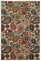 Anti-Bacterial Rubber Back AREA RUGS Non-Skid/Slip 3x5 Floor Rug   Ivory Paisley Floral Indoor/Outdoor Thin Low Profile Living Room Kitchen Hallways Home Decorative Traditional Rug