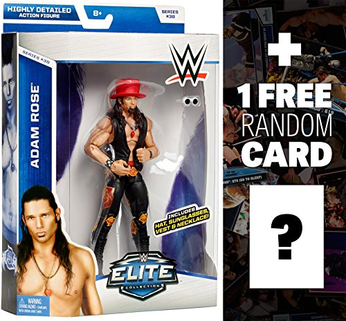 Adam Rose w/ Hat, Sunglasses, Vest & Necklace: WWE Elite Collection Action Figure Series + 1 FREE Official WWE Trading Card Bundle