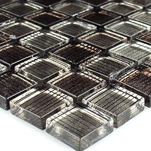 Glasmosaik Fliesen Braun Gestreift 23x23x8mm Mosaikfliesen