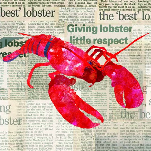 Paperproducts Design 1251257 Lobster Shack Paper Beverage/Cocktail Napkin, 5 by 5-Inch, Red