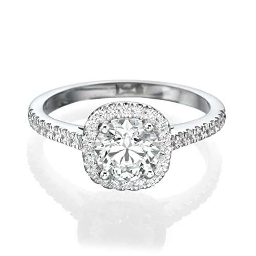 1 CT Solitaire with Accents Diamond Engagement Ring Round Cut Main Stone with Accents H/SI1 (Clarity Enhanced) 14ct White Gold