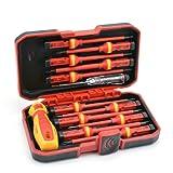 RDEER 1000V Insulated Screwdriver Set CR-V Magnetic Phillips Slotted Pozidriv Torx Screwdriver (Color: Red)