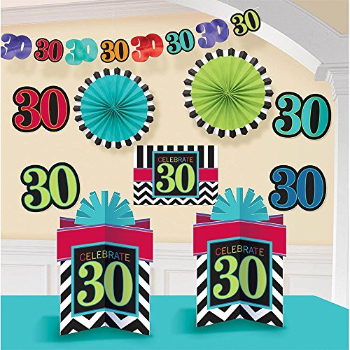 Amscan Lively Decorating Kit with 30th Celebration Theme, Black/White/Red/Cyan Blue/Green/Violet/Blue