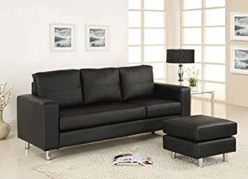Avon contemporary style black leather like vinyl Sectional sofa convertible Sofa with ottoman