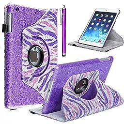 Style4U Shiny Zebra Print 360 Rotating PU Leather Bling Stand Case with Stylus for Apple iPad Mini, Mini 2, Mini 3 - Purple Pink