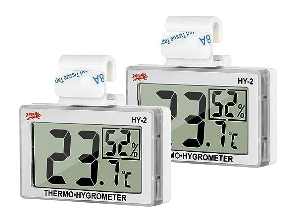 GXSTWU Reptile Hygrometer Thermometer LCD Display Digital Reptile Tank Hygrometer Thermometer with Hook and Velcro Temperature Humidity Meter Gauge for Reptile Tanks, Terrariums, Vivarium 2packs (Color: white, Tamaño: 2 packs)