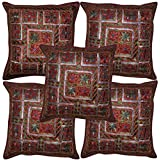 Lalhaveli Handmade Mirror Embroidery Work Design Vintage Cotton Cushion Cover Set Of 5 Pcs 16x16 Inches