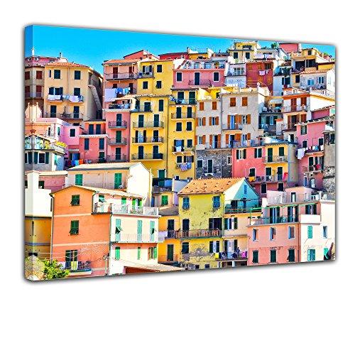 Bilderdepot24 Leinwandbild Riomaggiore Manarola Italien - 70x50 cm 1 teilig - fertig gerahmt, direkt vom Hersteller