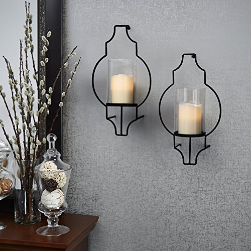 Wall Sconce With Led Timer Candle : Set of 2 Hurricane Glass Flameless Candle Wall Sconce with Remote Landscape & Lighting