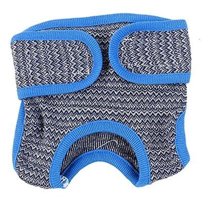 Adjustable Zigzag Pattern Dog Waist Diaper Pants Underwear S Blue Gray