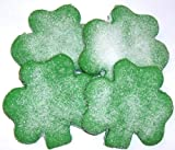 Scott's Cakes 1 lb. Green Shamrock Cookies with White Sugar in a Decorative Tray with Krinkle Paper