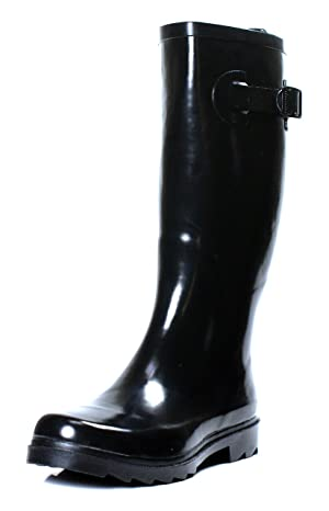 Townforst Women's Rubber Rain Boots Knee High Flat (8)