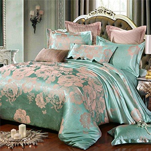 [stile europeo] Puro cotone Piante e fiori Set di biancheria da letto(1Copripiumino 1Lenzuola 2Cuscino)-P King