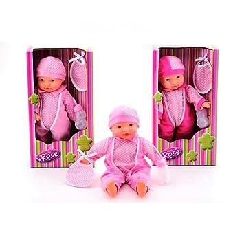Poupée bébé Rose Pop Sound 40 cm - la poupée fait des sons + accessoires