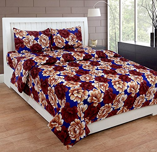 Homefab India 3D Floral MultiColor Double BedSheet with 2 Pillow Covers(120 GSM)