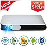 WOWOTO CAN Mini Projector Portable Video Projector DLP Support 3D Full HD 1080P 300in Multimedia with Auto Keystone Android OS Battery HDMI AirPlay WiFi Bluetooth Fit Phone Laptop PC TV Box DVD Player (Color: Grey)