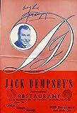 JACK DEMPSEY JSA COA Autographed FULL RESTAURANT MENU Authentic Signed