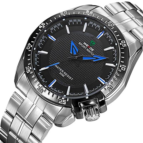 2014 Famous Brand Weide Relogio Hours Male Clock 30M Water Resistant Stainless Steel Watch Men Wristwatches (Black Blue)