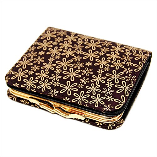 印傳屋 印伝 がま口 レディース ( 女性用 ) 本革 二つ折り  財布 札入れ 1605 日本製 和風 和柄 通販 ギフトに (雪割草(紫×白))