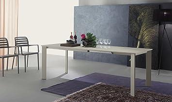 Zamagna - Tavolo allungabile Mondial 160 Zamagna - Struttura: Metallo laccato grigio tortora RAL7044 - Piana: Melaminico laccato liscio bianco - Supporto: Si