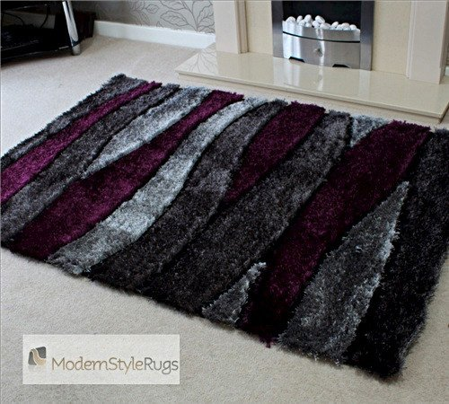 Thick Shaggy Grey And Purple Modern Home Rug - AVAILABLE IN 2 SIZES -, 120 x 170cm (4ft x 5ft 7)