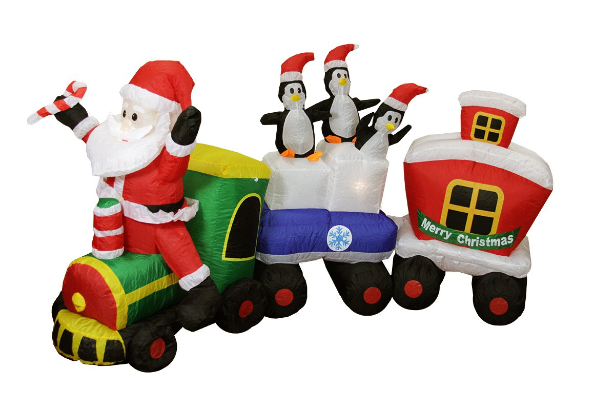 Santa Outdoor Inflatable Trains Christmas Wikii