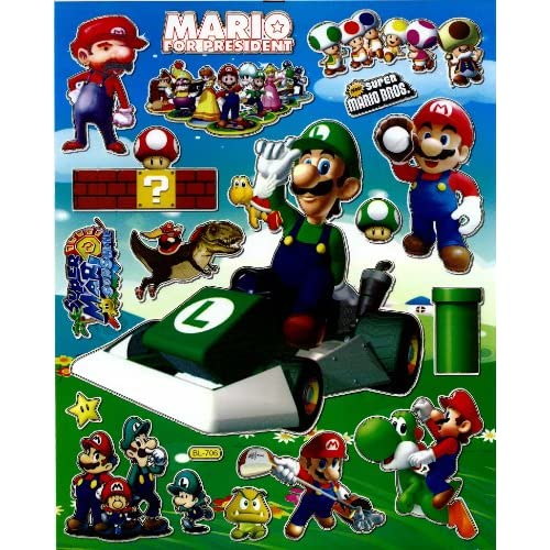 Super MARIO Luigi STICKER SHEET BL706 ~ Race Car Motorbike Cart Turtle Mushroom