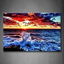 First Wall Art® - Sea Spray And Sunrise Wall Art Painting The Picture Print On Canvas Seascape Pictures For Home Decor Decoration Gift
