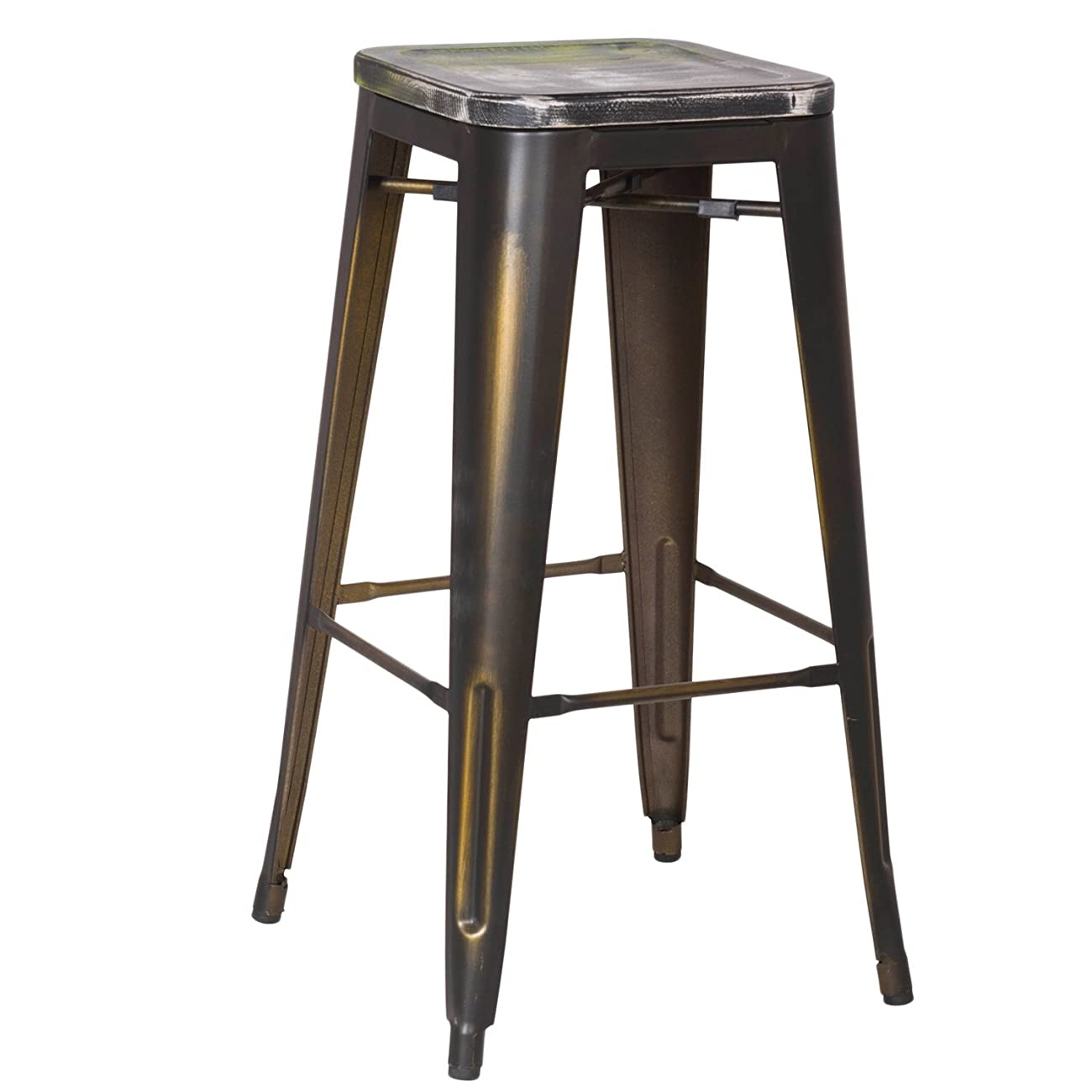 2016 NEW Adeco 30-inch Metal Counter Bar Stools, Vintage Retro Barstool, Distressed copper, Wooden Seat with a blend of Green (SET OF TWO) 0