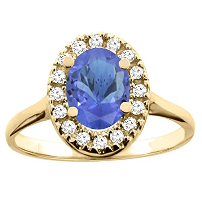 14ct Yellow Gold Natural Tanzanite Ring Oval 8x6mm Diamond Accent 7/16 inch wide, size K