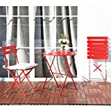 Grand Patio Steel Folding Outdoor Bistro/ Patio/ Backyard Set, 3 PCS Set of Foldable Table and Chairs, Patio Furniture Sets, Red