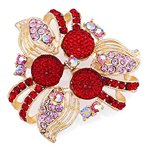 Pugster 22K Golden Plated July Birthstone Flower Light Red Swarovski Crystal Diamond Accent Brooches And Pins