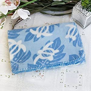 [Sea Turtle - Blue] Japanese Coral Fleece Baby Throw Blanket (26 by 39.8 inches)