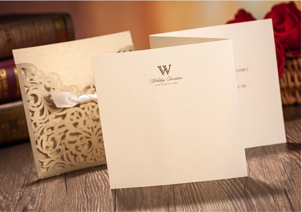 Wishmade 50x Gold Square Laser Cut Tri-fold Wedding Invitations Cards with Bow Lace Sleeve Invitations for Engagement Baby Shower Birthday Quinceanera (set of 50pcs) CW5011 3
