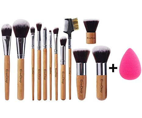 [New Arrival] EmaxDesign 12+1 Piece Makeup Brush Set,12 Pcs Professional Bamboo Handle Foundation Blending Blush Eye Face Liquid Powder Cream Cosmetics Brushes & 1 EmaxBeauty Blender Makeup Sponges