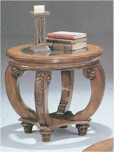 Cheap Hand Carved Leaf Detail Round Glass Top End Table By Coaster Furniture (VF_AZ01-5246)