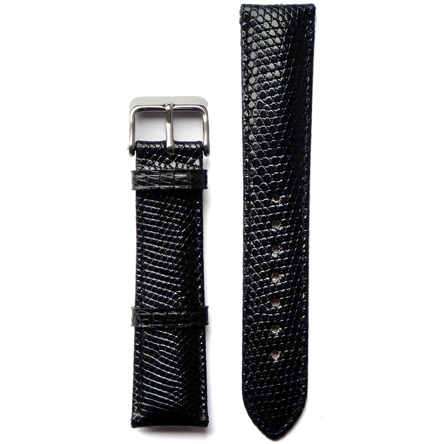 Black 20 Millimeters Genuine Lizard Skin Watch Strap black 20 millimeters genuine lizard skin watch strap