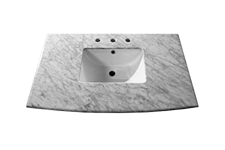 Bellaterra Home 7612-TOP-WH 36-Inch, White Carrara Marble Counter Top with Rectangular Sink