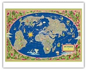 world map planisphere air france le plus grand r seau du monde the biggest. Black Bedroom Furniture Sets. Home Design Ideas