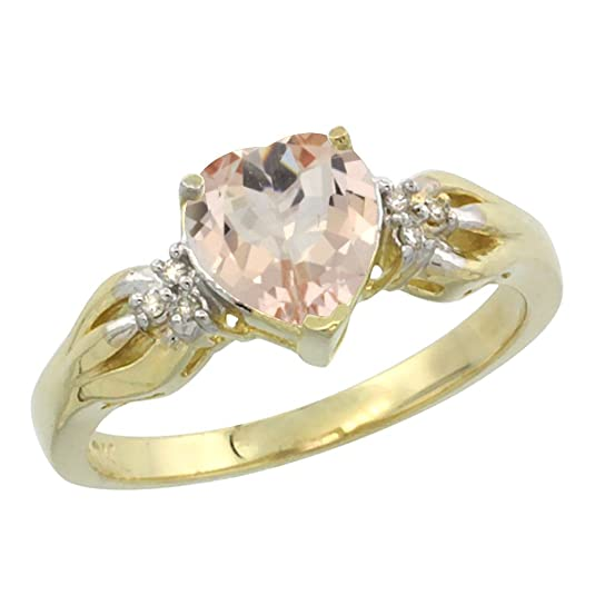 14ct Yellow Gold Natural Morganite Ring Heart-shape 7x7mm Diamond Accent, sizes J - T