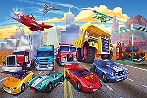Papier peint photo pour chambre d'enfant avec voitures et avions