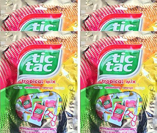 Tic Tac Tropical Mix Melon, Strawberry, Orange, Mango, Mini Packs Net Wt 3.3 Oz (4) (Tic Tac Mini Packages compare prices)