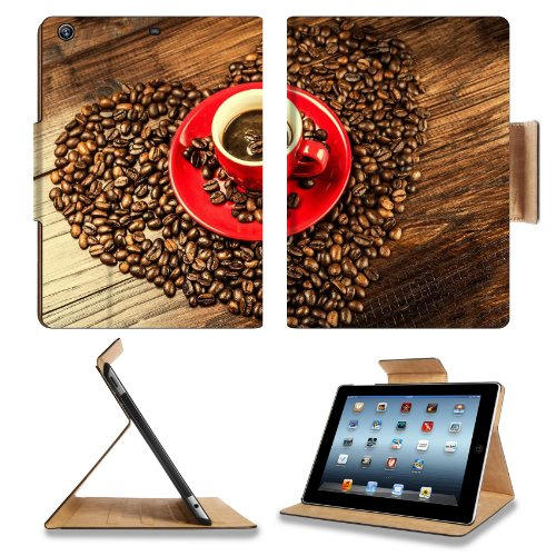 Coffee Beans Heart Red Cup Apple Ipad Air Retina Display 5Th Flip Case Stand Smart Magnetic Cover Open Ports Customized Made To Order Support Ready Premium Deluxe Pu Leather 9 7/16 Inch (240Mm) X 7 5/16 Inch (185Mm) X 5/8 Inch (17Mm) Msd Ipad Professional