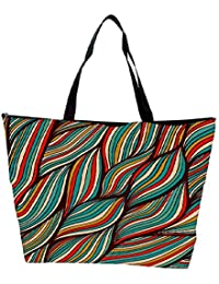 Snoogg Vector Hand Drawn Waves Texture Waterproof Bag Made Of High Strength Nylon
