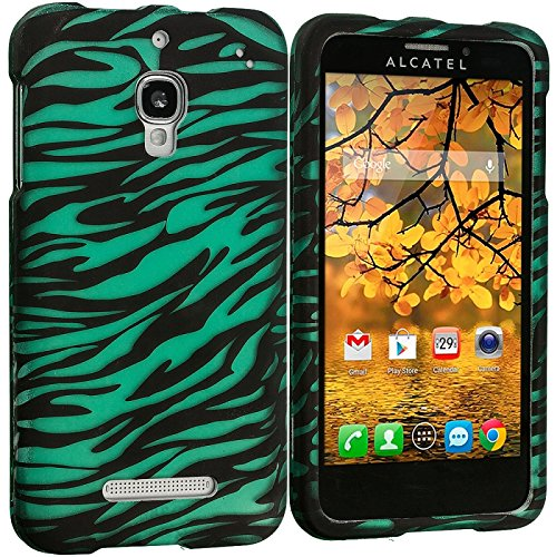 Cell Accessories For Less (Tm) Black/Baby Blue Zebra 2D Hard Rubberized Design Case Cover For Alcatel One Touch Fierce 7024W - By Thetargetbuys front-978191