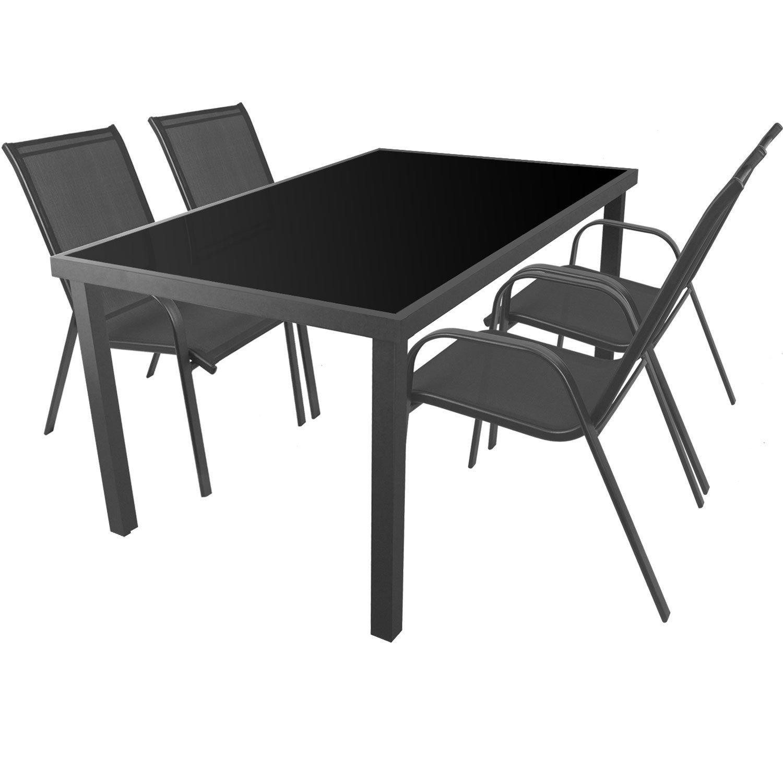 5tlg. Gartengarnitur Aluminium Glastisch 150x90cm + Stapelstühle mit 2×1 Textilenbespannung Sitzgarnitur Sitzgruppe Gartenmöbel Balkonmöbel Terrassenmöbel günstig online kaufen