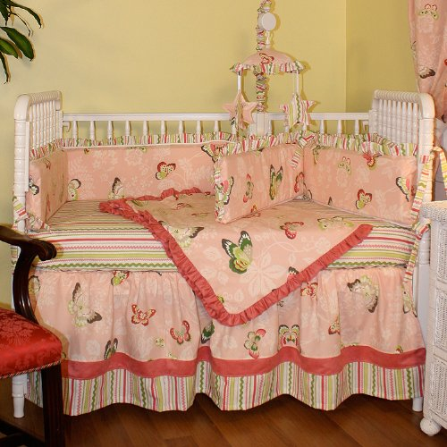 Hoohobbers 4-Piece Crib Bedding, Butterflies